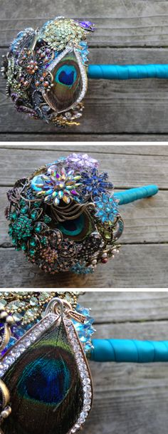Peacock Brooch Bouquet