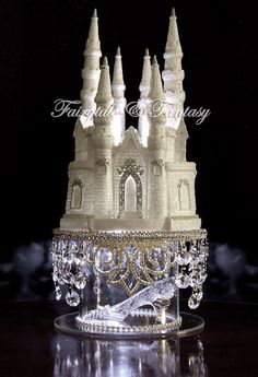 Cinderella Castle Cake Topper Princess Fairytale with Swarovski Crystals LIGHTED