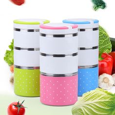 2/3-Layer Cute Stainless Steel Lunch Box Insulation Bento Food Picnic Container #Unbranded