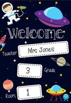 Print this bright welcome poster in A3 and display on your classroom door! Perfect for a space theme in your classroom!This Welcome Poster is in a PowerPoint file so that it is EDITABLE for you to personalise for your own class. Simply add a text box where required, add teacher name, grade and room number and print!*** 2 versions included: one with a space for YEAR level and one for GRADE (see thumbnails)** Make sure you check out my matching Space Desk Name Labels - Editable.If you would…