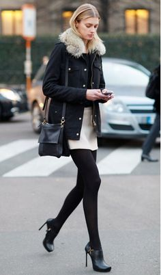 white skirt with thick black tights. Like the shoes
