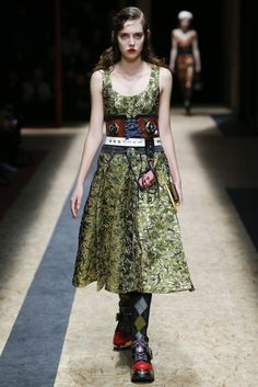 Belt up | Take your cue from Prada: cinch a lace-up corset-belt-plus-leather-belt combo over all your summer dresses for instant autumn style points. | Vogue's 7 Autumn/Winter 2016 Style Tricks To Try Now