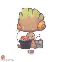 503 - Baby Groot, Jr Pencil on ArtStation at https://www.artstation.com/artwork/q3wXL