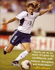 Mia Hamm is one of my role-models. She is an awesome soccer player! I wish i could get her to teach mento be a better soccer player. :)