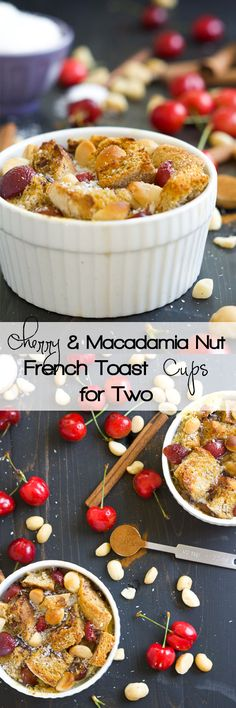 All the flavor of a breakfast favorite but for two! English Muffin French Toast cups are sprinkled with fresh cherries and buttery macadamia nuts for a gourmet breakfast! @cbcbread @kitchendailypin #CBCBreakfast