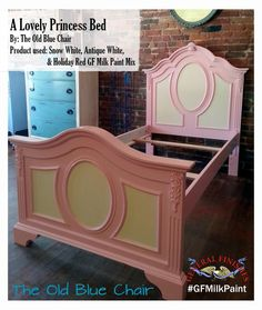 This bed frame was painted in a custom mix of General Finishes Snow White, Antique White and Holiday Red Milk Paint. Check out The Old Blue Chair, https://www.facebook.com/TheOldBlueChair? ref=ts&fref=ts, on facebook. #gfmilkpaint