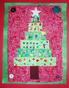 mrspicasso's art room: Christmas trees with buttons sewn on...would be fun with grands