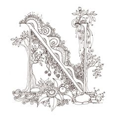 Monogram, Initial, Colour-Me-In Illuminated Letters - N, original art drawings by melanie j cook