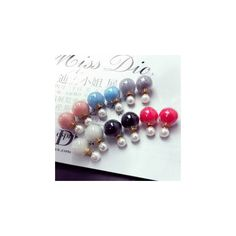 Double-Sided Earrings ($5.61) ❤ liked on Polyvore featuring jewelry, earrings, accessories, ball jewelry, earrings jewelry, two sided earrings, ball earrings and blue sky jewelry