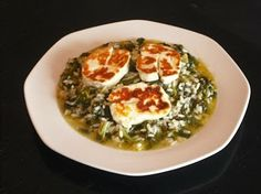 Spanakorizo (Spinach Rice) - This is a simple and nutritious dish, easily prepared. It is best accompanied by slices of fried haloumi cheese, which is from Cyprus but is available worldwide.