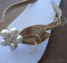 Beige flip flops. Bridal Peacock Feathers flip flops with Swarovski Crystals N StarFish Rhinestone. Must have Collection -beige