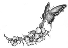 Sketches of Flowers and Butterflies   Tattoo Templek: butterfly tattoo by Penny Jain