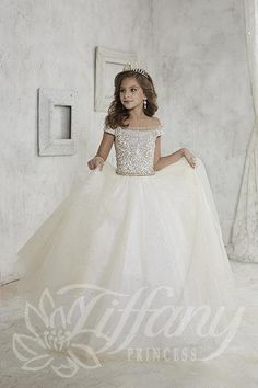 Tiffany Princess 13457 Girls Pageant Cotillion Dress 749b84d240d9