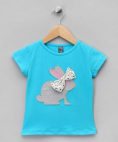 Blue Appliqués Rabbit with Bow Tee - Infant, Toddler & Girls  by cigit