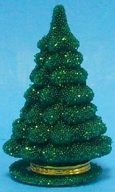 Ino Schaller German Christmas Paper Mache Beaded Green Tree Candy Container