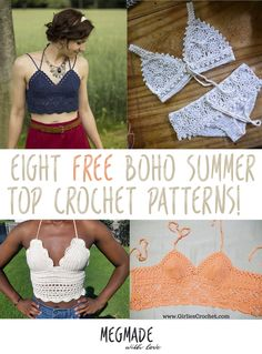 8 Free Boho Summer Top Crochet Patterns — Megmade with Love Hey guys. So the warm weather is finally makin' it's way into my world over here in good ol' Kansas. And it's got me itc. Débardeurs Au Crochet, Beau Crochet, Moda Crochet, Bikini Crochet, Crochet Woman, Cute Crochet, Beautiful Crochet, Crotchet, Crochet Braids