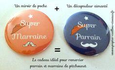 """Duo """"parrain & marraine"""" : 1 miroir de poche + 1 décapsuleur Chez papier Caillou Ciseaux  www.papier-caillou-ciseaux.fr"""