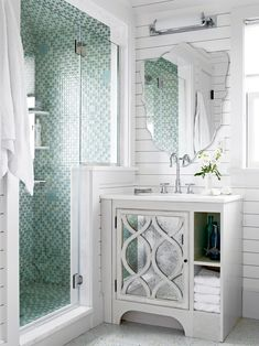 When your bathroom is short on space, the right bathroom vanity can help you add bathroom storage within your limited square footage. These small-bathroom vanity ideas offer a big statement without overtaking the room. #bathroomvanity #smallbathroomstorage #smallbathroomideas #remodel #bhg Minimalist Small Bathrooms, Beautiful Small Bathrooms, Small Bathroom Vanities, Tiny Bathrooms, Cheap Bathrooms, Bathroom Design Small, Modern Bathroom, Bathroom Ideas, Shower Ideas