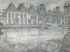 Repro uit Pieck Spieghel, voorstellende gezicht op het 17e eeuwse hoofdkantoor van de firma Vernhout & Van Sluyters, drukkerijen B.V.