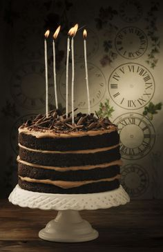 chocolate cake with caramelized cookies filling.