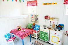 white and bright colors and joyful patterns- want to make doll house furniture like this