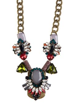 Jewel Tone Luxe Brooch Necklace