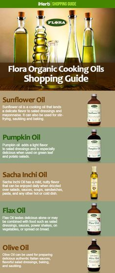 Follow the link in this graphic to learn more about Flora's Organic Cooking OIls!
