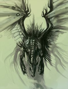 One of 20 amazing dragon drawings.  I love the overhead perspective...don't see this much in dragon drawings.