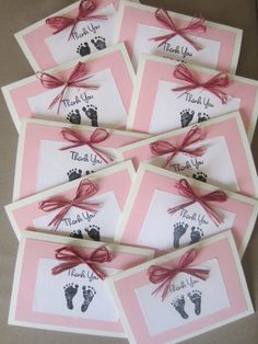 Baby Girl Thank You Cards. $50.00, via Etsy.