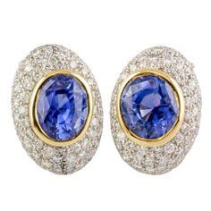 ANGELA CUMMINGS Ceylon Sapphire Diamond Platinum Gold Earrings
