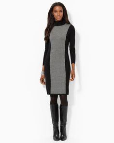 Houndstooth Turtleneck Dress - Lauren Short Dresses - RalphLauren.com