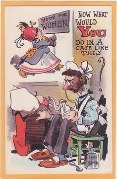 Woman Suffrage Postcard - Votes for Women Suffragette Man Feeding Baby