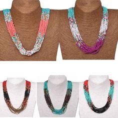 Boho Colorful Acrylic Layers Beads Statement Necklace Chunky Collar Pendant #Handmade #Collar #PartyGiftWeddingCasualCocktail