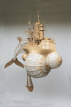 Large 1,70 bu 1,90 meters cardboard and paper steampunk art airship, zeppelin, made by Jeroen van Kesteren. info at: jeroen@invorm.com or Smelik en Stokking galleries The Hague