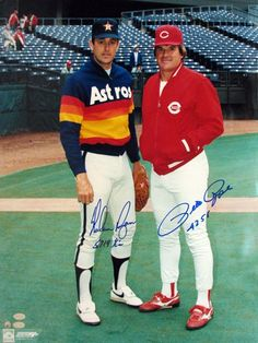 Nolan Ryan, Houston Astros and Pete Rose, Cincinnati Reds ~~~ Two of the best to ever play the game! Cincinnati Reds Baseball, Baseball Star, Better Baseball, Baseball Players, Baseball Cards, Indianapolis Colts, Pittsburgh Steelers, Dallas Cowboys, Baseball Wall