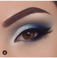 White and blue eyeshadow.