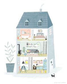 Dollhouse, Home, Interiors, Illustration by Tina Schulte. Food and object illustration Watercolor Wall, Watercolor Flower, Building Illustration, House Illustration, Retro Illustration, Winter Illustration, Portrait Illustration, House Drawing, Illustrations And Posters