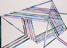 Invisible Cities, watercolor on paper, rhythm, space, textile, colors, parallelogram, architecture, geometry, lines