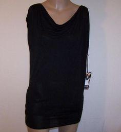 New FYLO Sz S/P Tunic Shirt Top Viscose Sleeveless Draping Cowl Neck Black NWT #Fylo #Tunic #Casual