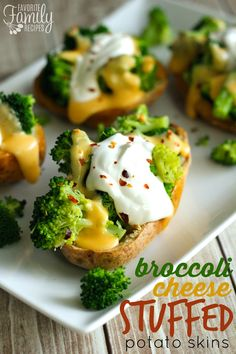 Broccoli Cheese Stuffed Potato Skins - You start with your potato skin, then there is a layer of melted cheese, then steamed broccoli with a delicious creamy cheese sauce drizzled over the top!