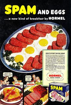 """""""How to Start the Day Right"""",Spam and Eggs, Hormel"""