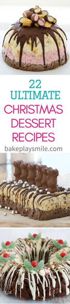 A collection of 22 of the ultimate Christmas dessert recipes. these really are totally drool worthy! With everything from cheesecakes to chocolate ripple cakes, ice cream cakes to rocky road wreaths… Christmas Food Gifts, Xmas Food, Christmas Cooking, Christmas Desserts, Christmas Christmas, Delicious Desserts, Dessert Recipes, Chef Recipes, Christmas Recipes