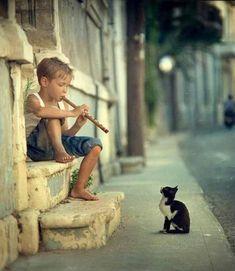 Dit is erg roerend, een jongetje die fluit speelt tegen een kat. Hoe onschuldig kan je het krijgen
