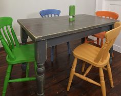 Shabby Chic Multi Coloured Dining Table with 4 Chairs