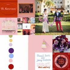 Grand Budapest Hotel Wedding Inspiration. Pink Purple and Red. Mendls. Art Nouveau and Art Deco. Wes Anderson Palette Inspiration. Red Pink Blue Purple Lavender Gold Green.