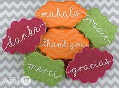 Custom Thank You Sugar Cookies (Set of Six) by Sweet17Cookies on Etsy