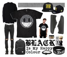 """""""Black Is My Happy Colour 1"""" by dethkult ❤ liked on Polyvore featuring adidas Originals, Vans, RtA, Damn Handsome Grooming, Hawkins & Brimble, WeSC, Alexander McQueen, men's fashion, menswear and blackandwhite"""