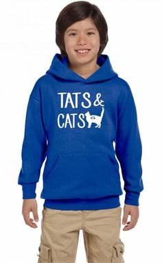 tats & cats funny Youth Hoodie