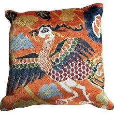 Tibetan Hand Woven Pillow, Bird & Flower Design