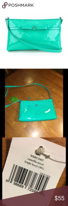 NWT Kate Spade Camellia Street Purse New with tags!  Kate Spade camellia street in bright beryl.  The bright beryl is similar to a mint green color.  Purse is 10 inches wide and 6 inches tall.  Front of purse has signature bow.  Purse has been kept in sealed bag/airtight bag for protection.  Important:   All items are freshly laundered as applicable prior to shipping (new items and shoes excluded).  Not all my items are from pet/smoke free homes.  Price is reduced to reflect this!   Thank…
